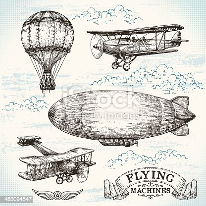 A hand-drawn illustration of four vintage flying machines.  All the images are drawn with black ink and include a great deal of shading and texture.  In the upper left corner is a hot air balloon with two people in the basket.  In the upper right is a biplane with a propeller and fixed landing gear with a horizontal stabilizer.  In the center of the image is a zeppelin headed toward the left.  In the bottom left corner is an older biplane with a propeller, fixed landing gear and a box-type tail.  In the bottom right is the logo