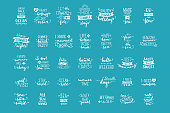 Vector hand-drawn white lettering quotes about sea / ocean on blue background.
