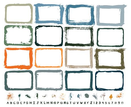 Vector Hand-Painted Texture Border & Paint Splash Set : Artist's Own Collection
