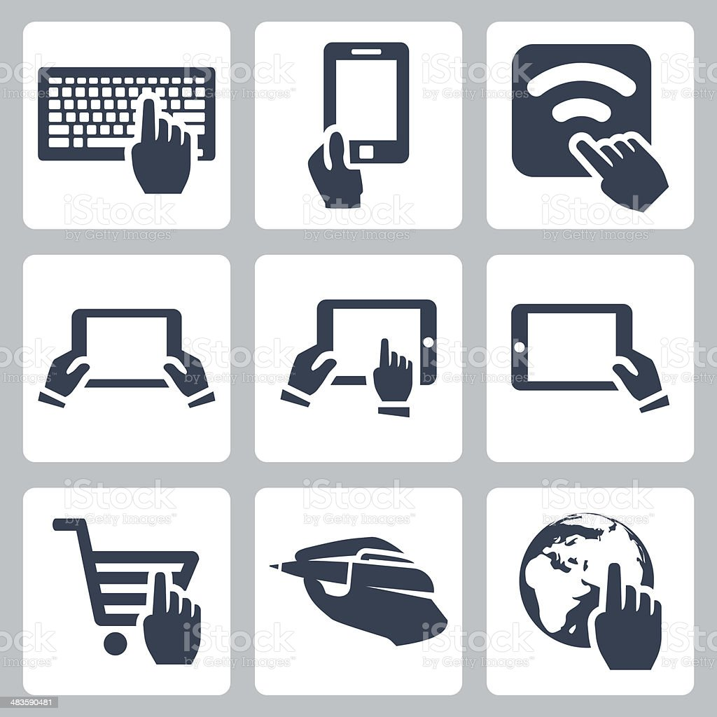 Vector hands and technology icons set vector art illustration