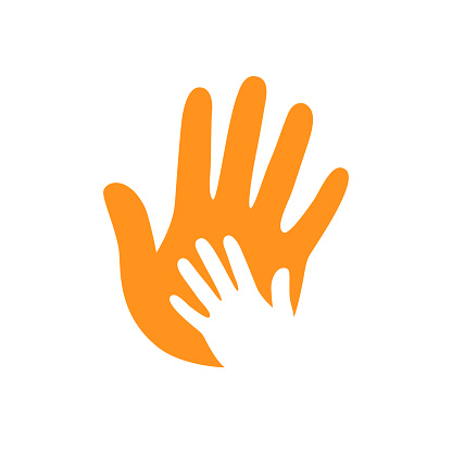 Vector hands. Hand care. Childish hand. Support symbol. Helpful people. Hand on hand. Two hands.