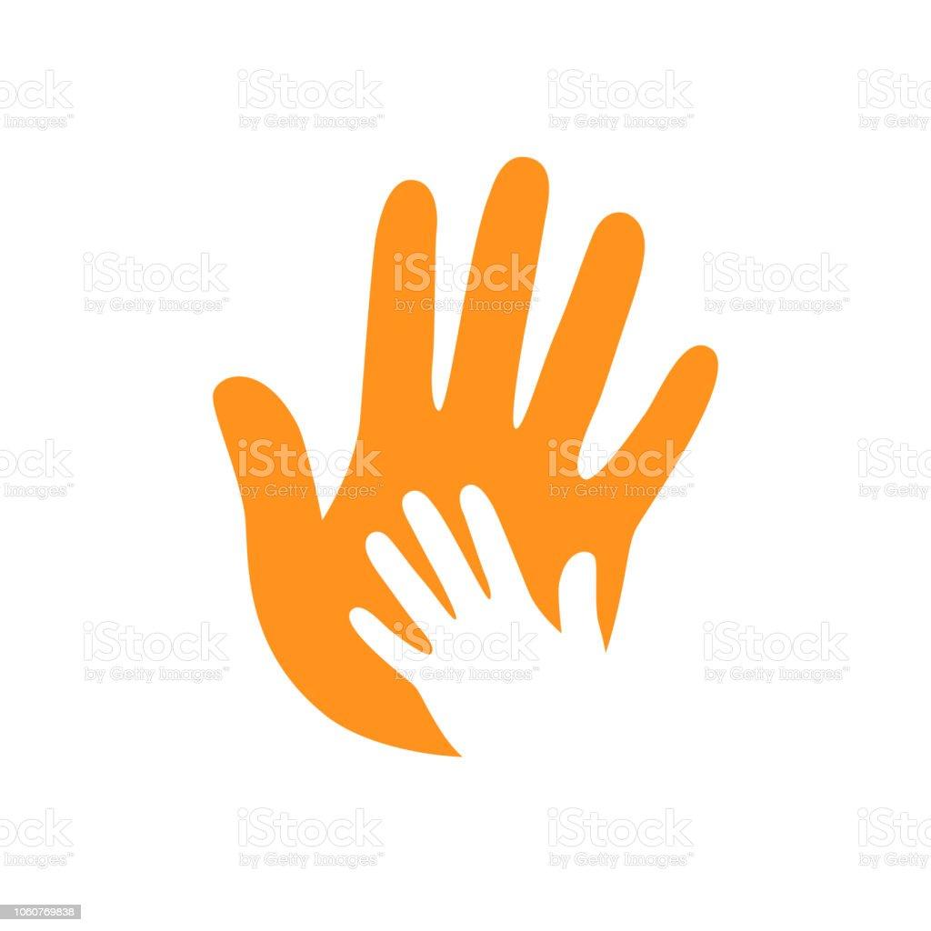 Mains de vecteur. Soins des mains. Enfantin à la main. Symbole de la prise en charge. Gens utiles. Main dans la main. Deux mains. - Illustration vectorielle