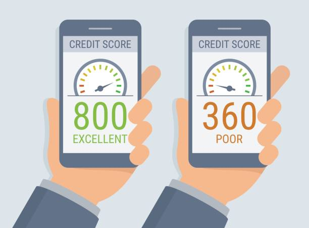 vector hands holding smartphones with credit score app on the screen in flat style - credit score stock illustrations, clip art, cartoons, & icons