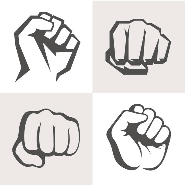Vector hands icon set. Different fist signs. vector art illustration