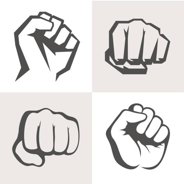 向量手圖示集。不同的拳頭標誌 - 毆打 幅插畫檔、美工圖案、卡通及圖標