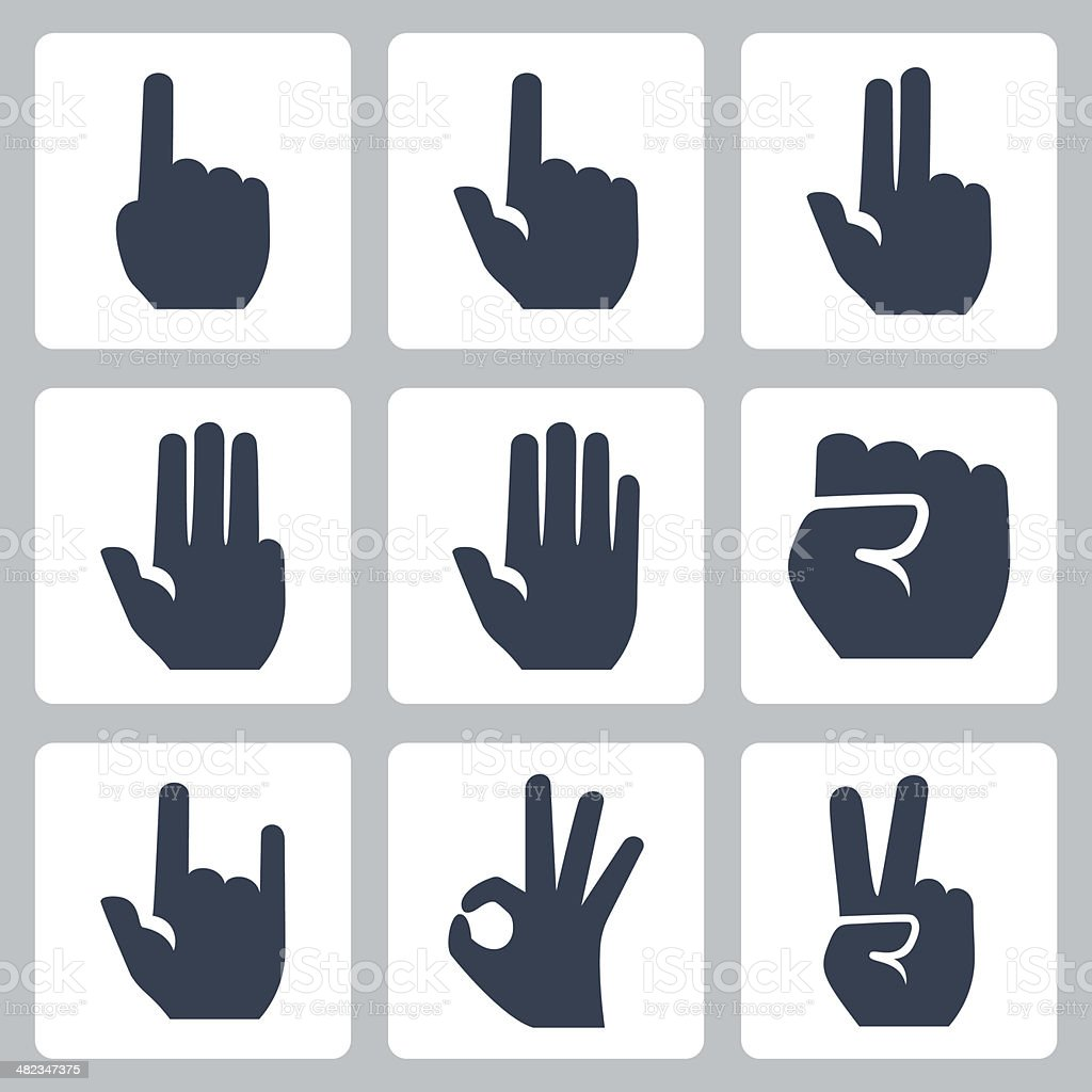 Vector hands icons set vector art illustration