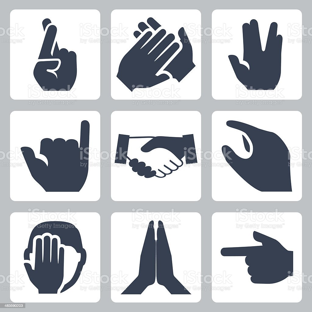 Vector hands icons set vector art illustration