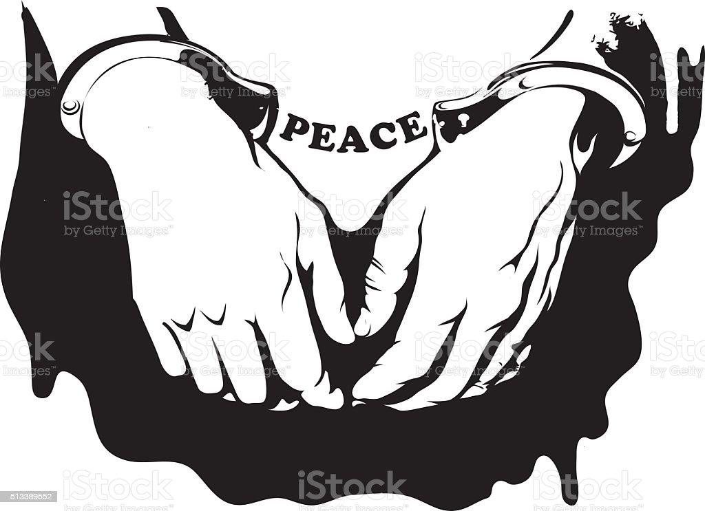 vector hands in handcuffs vector art illustration