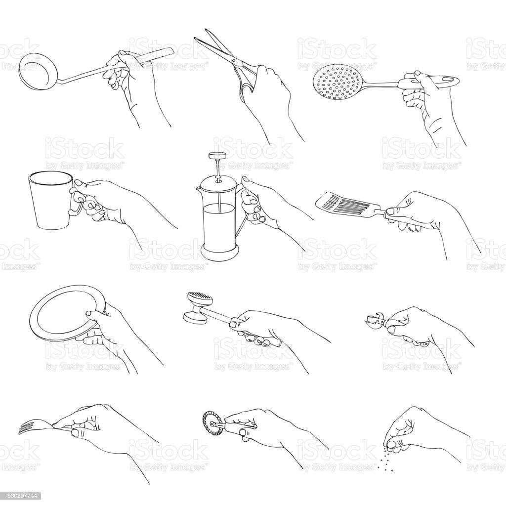 Vektorhände Mit Küchenutensilien Stock Vektor Art und mehr Bilder ...