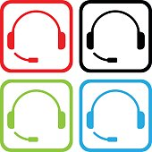 Headphones Icon colour set vector illustration. PDF file included
