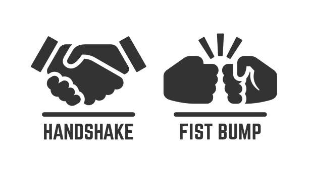 vector handshake and fist bump icon. partnership pictogram. - hand shake stock illustrations, clip art, cartoons, & icons