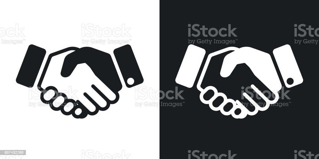 Vector handshake icon. Two-tone version vector art illustration