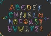 Vector handwritten alphabet in African ethnic style.