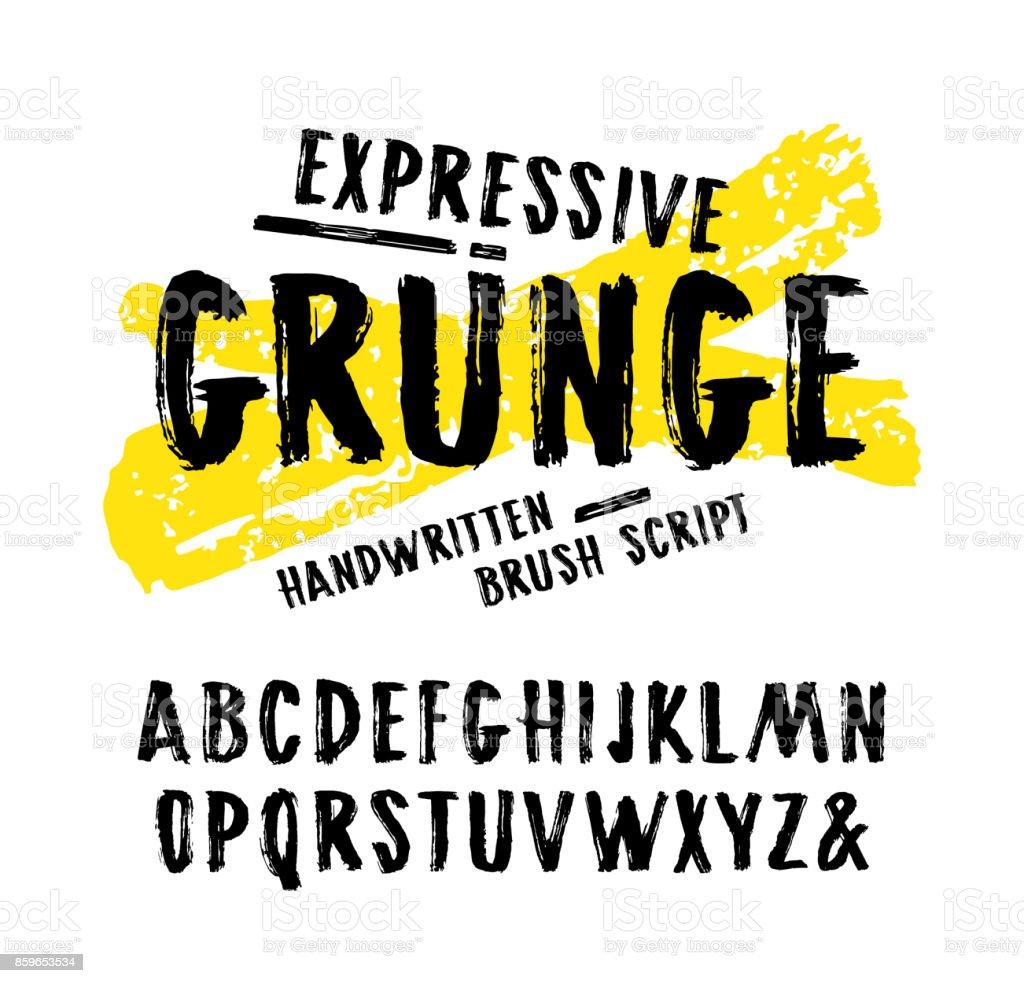 グランジ スタイルの手書き筆フォントをベクターします。 ベクターアートイラスト