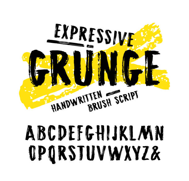 vector handwritten brush font in grunge style - graffiti fonts stock illustrations, clip art, cartoons, & icons