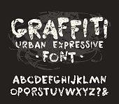 Vector handwritten brush font with shabby texture