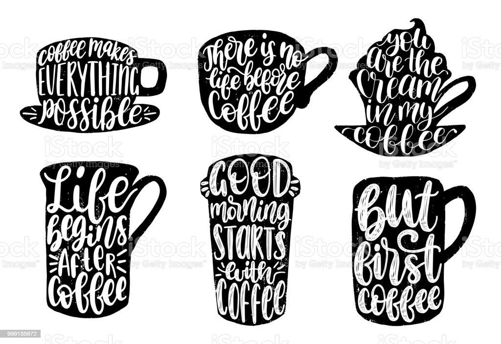 Ilustração De Vector Conjunto De Frases Escritas à Mão De Café Bom