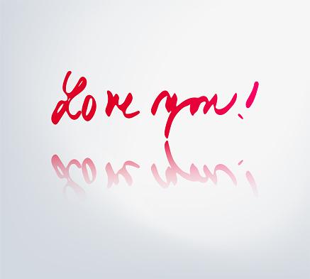 Vector handwritten lettering Love you!