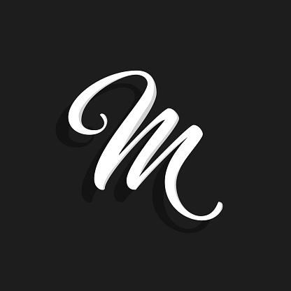 Vector Handwritten Logo Letter M
