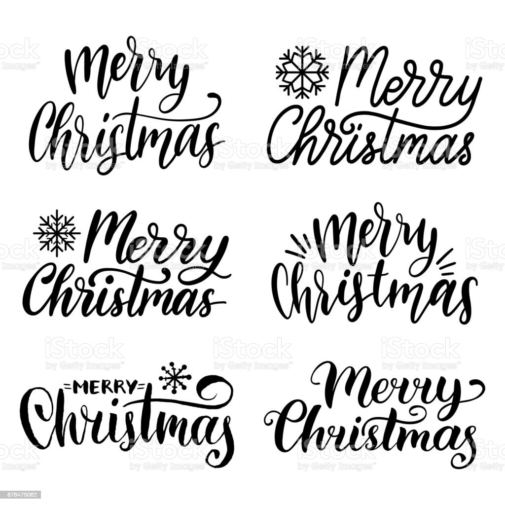 Vector handwritten Merry Christmas calligraphy set. Collection of Nativity and New Year lettering. vector art illustration