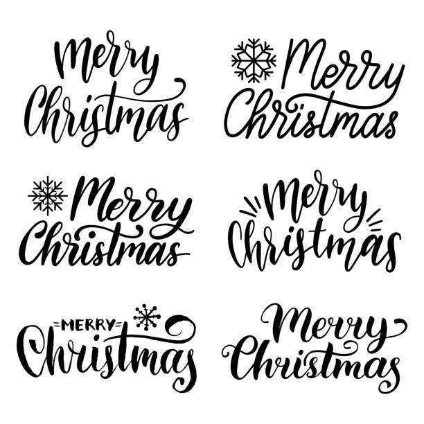 vector handwritten merry christmas calligraphy set. collection of nativity and new year lettering. - text stock illustrations, clip art, cartoons, & icons