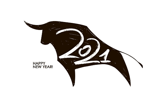 Vector Handwritten number of 2021 on silhouette of ox background. Happy New Year.