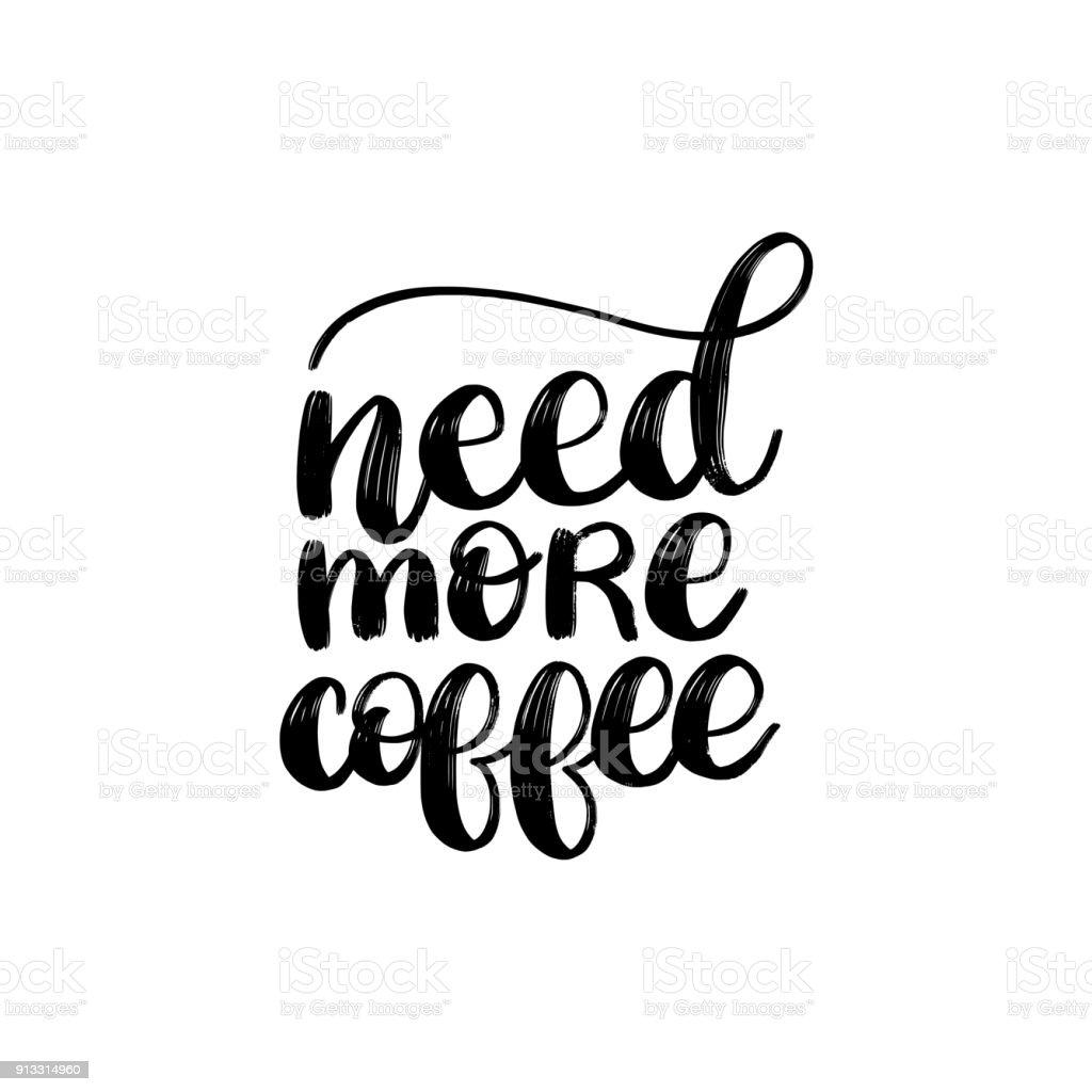 Ilustração De Vector Frase Manuscrita De Precisar De Mais Café