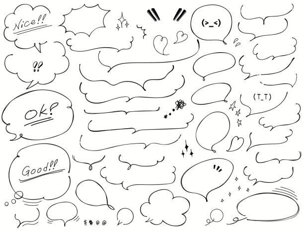 Vector handwritten speech bubble Vector handwritten speech bubble speech bubble stock illustrations