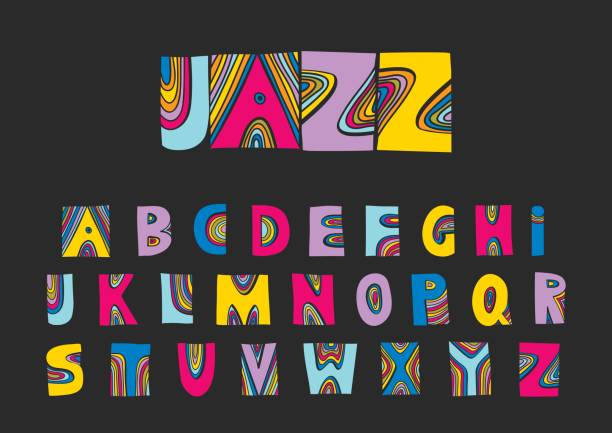 Vector handwritten uppercase artistic colorful alphabet. Vector handwritten uppercase artistic colorful alphabet. For design of music posters, festivals, placards, CD covers. acid stock illustrations