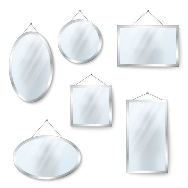 Vector hanging mirrors isolated on white Vector hanging mirrors square round and oval isolated on white background illustration bathroom borders stock illustrations