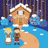 Vector Hansel and Gretel in front of Gingerbread House
