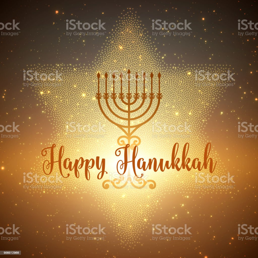 Vector Hanukkah background with menorah and david star. Shining stars and sun on the back. Happy Hanukkah background. Elegant greeting card. vector art illustration