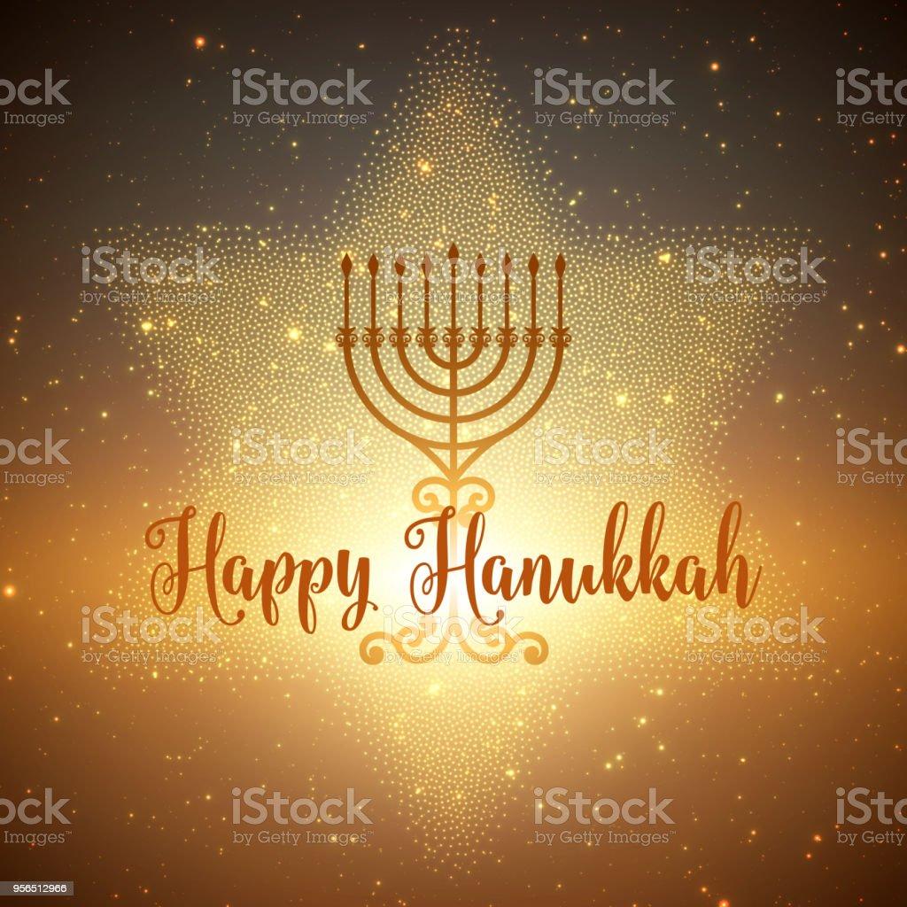 Vector background Hanukkah avec la menorah et david étoiles. Étoiles et le soleil qui brille sur le dos. Fond de Hanukkah heureux. Élégante carte de voeux. - Illustration vectorielle