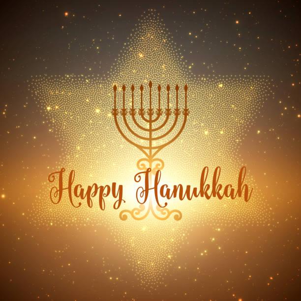 ilustraciones, imágenes clip art, dibujos animados e iconos de stock de vector fondo de hanukkah menorah y david estrella. brillantes estrellas y sol en la parte posterior. fondo de janucá feliz. tarjeta de felicitación elegante. - jánuca