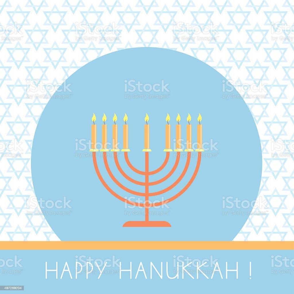 vector Hanukkah greeting card with menorah vector art illustration