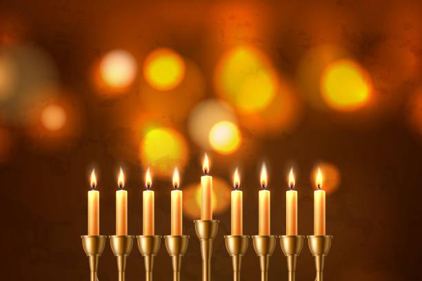 ilustraciones, imágenes clip art, dibujos animados e iconos de stock de vector hanukkah judío fiesta menorah david estrella - hanukkah