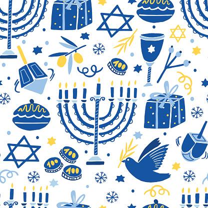 Vector Hanukkah seamless pattern