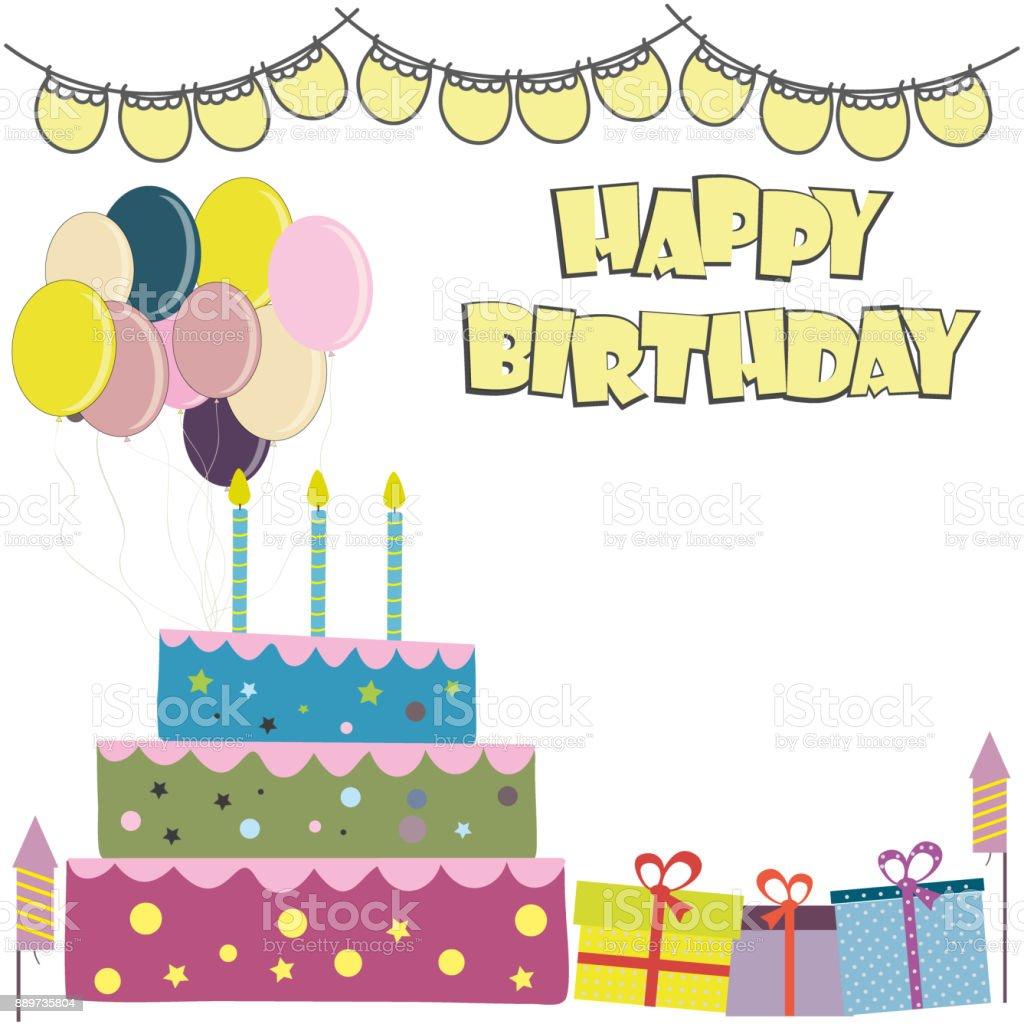 벡터 생일 카드입니다 생일 케이크 공휴일에 대한 스톡 벡터