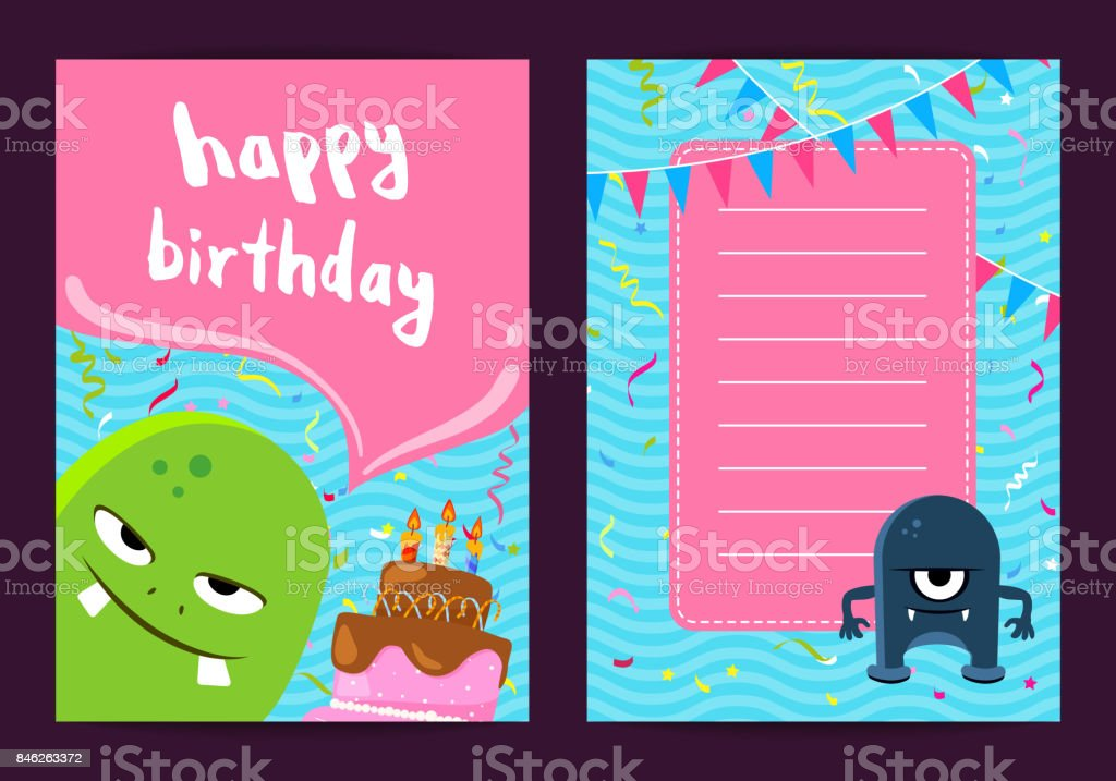 vector happy birthday card template with cute cartoon monsters cake