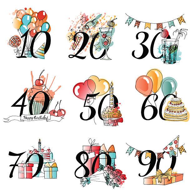 bildbanksillustrationer, clip art samt tecknat material och ikoner med vector  happy birthday card - 50 54 år