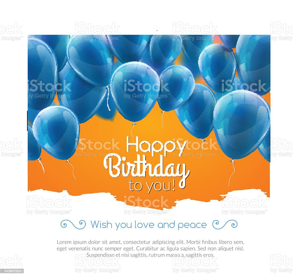 Vector happy birthday card with blue balloons, party invitation. vector art illustration