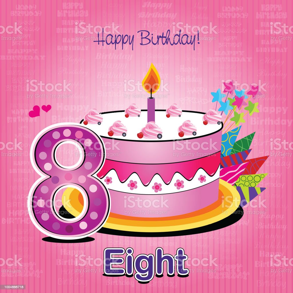 Vector Happy Birthday Card With Cake And Numbers Stock Vector Art