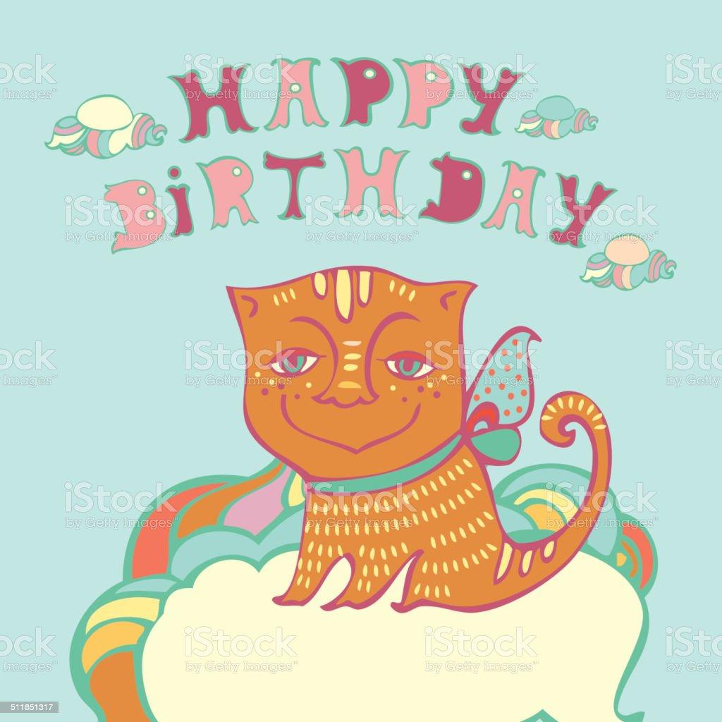 Wektor Zadowolony Urodziny Karty Z ładny Kot Stockowe Grafiki