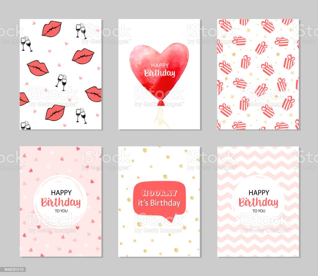 Vector Happy Birthday Cards Romantic Set Royalty Free