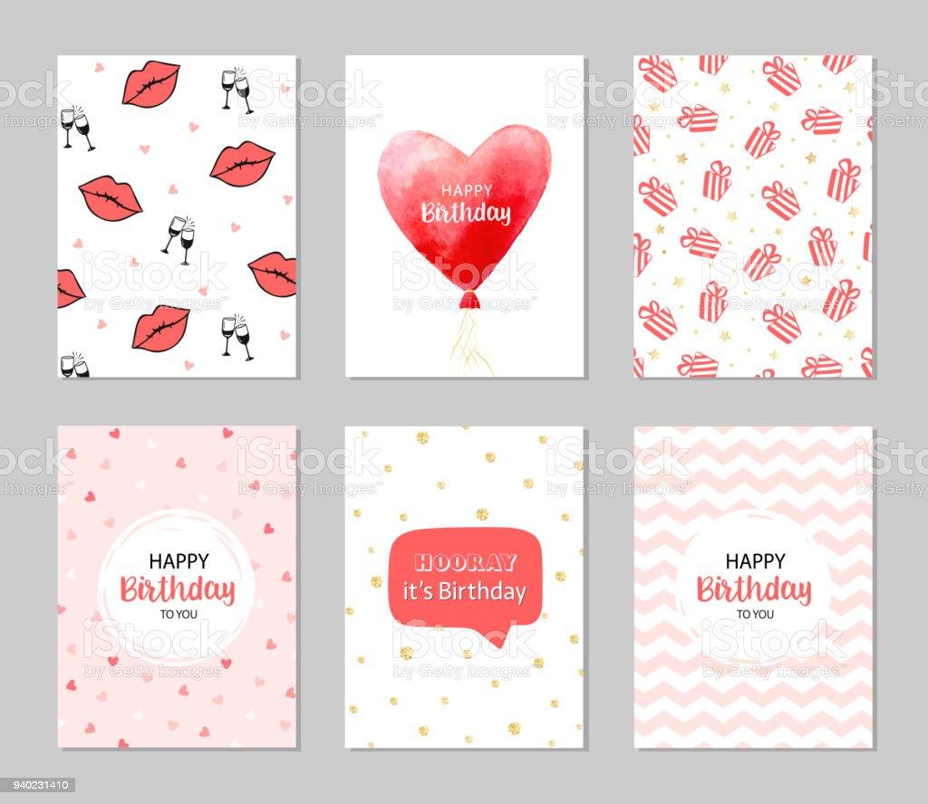 Vector Happy Birthday Cards Romantic Set