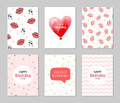 Set of 6 vector cards for birthday. Greeting, invitation, happy birthday cards. Heart balloon, gold glitter, geometric stripes, gift, glasses, kiss and lips etc. Lovely cute set with red elements.