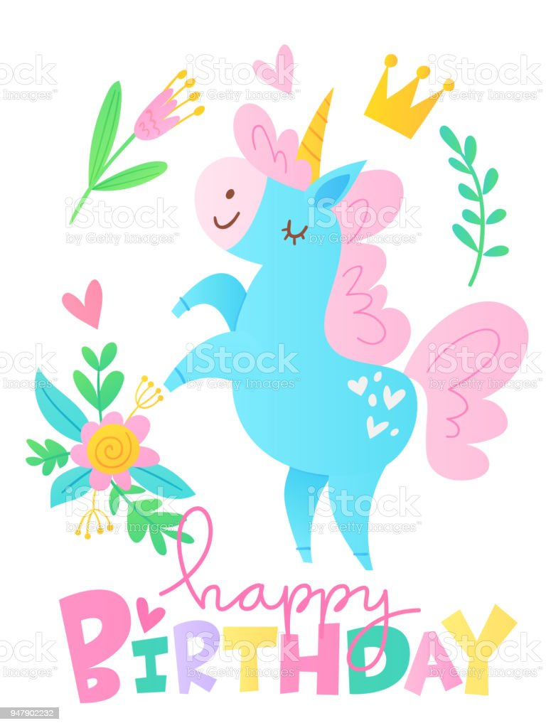 Vector Happy Birthday Cards With Cartoon Unicorn Character Royalty Free