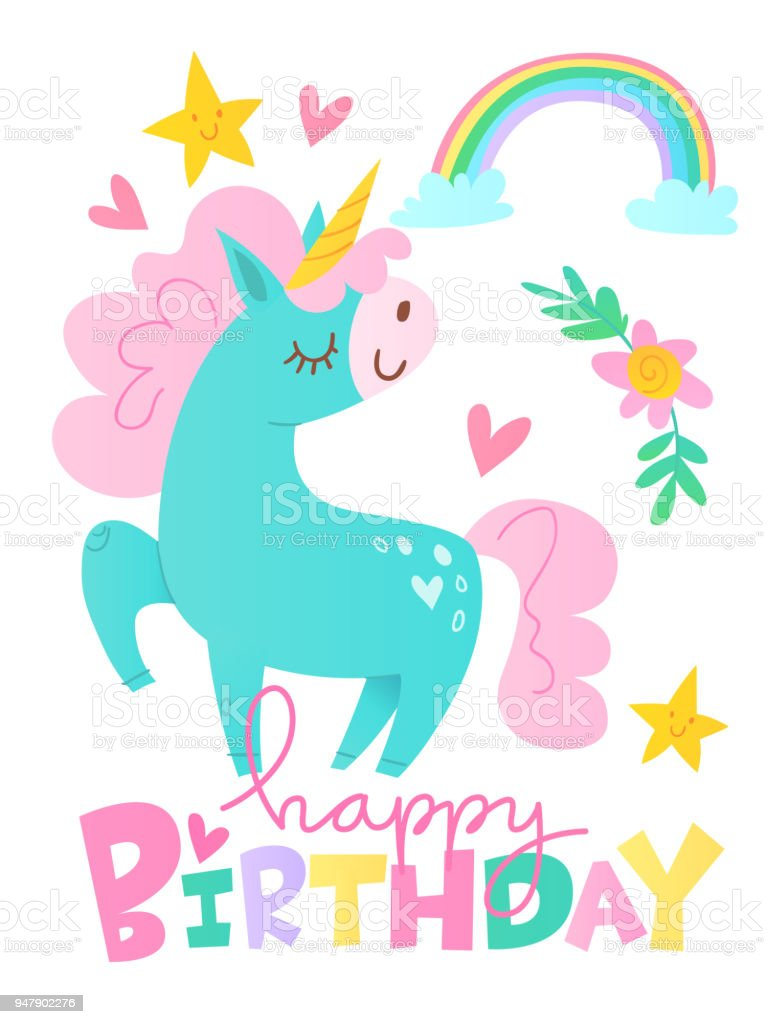 Vector Happy Birthday Cards With Cartoon Unicorn Character