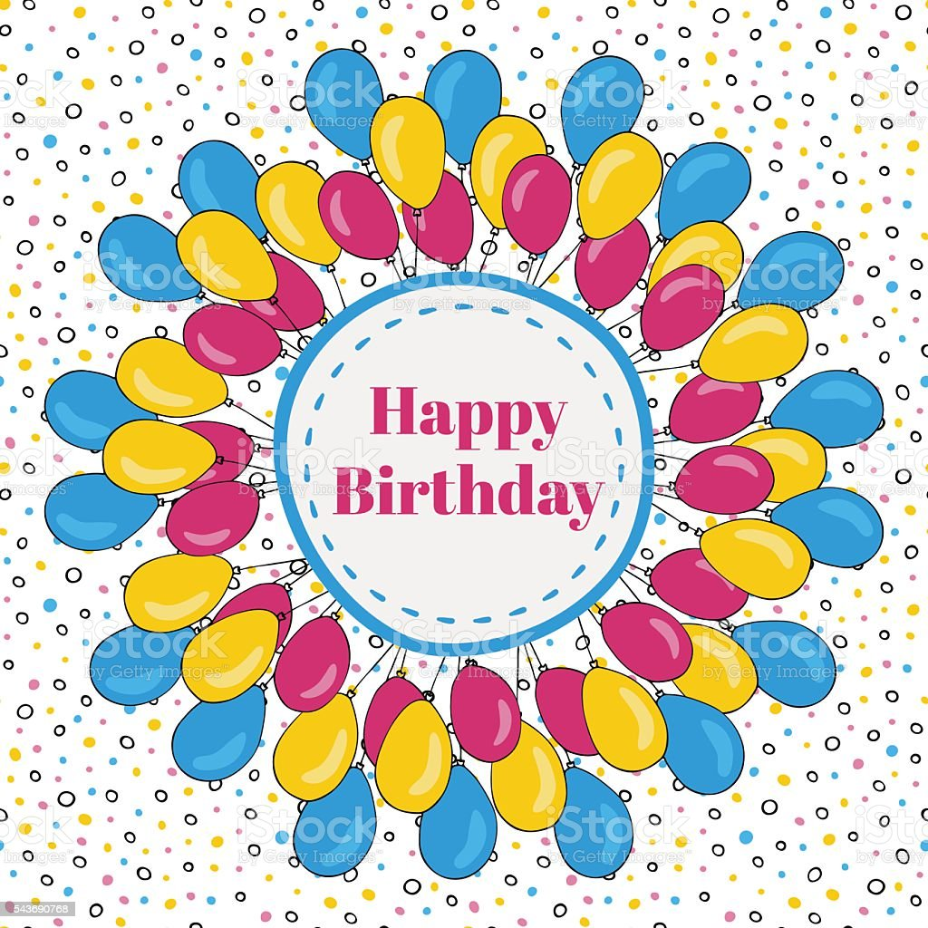 Vector Happy Birthday Frame With Colorful Balloons Background For ...