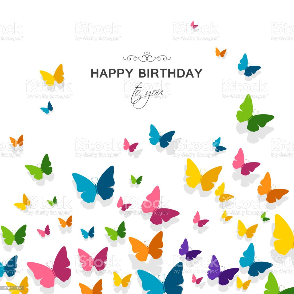 Vector Happy Birthday Greeting Card With Butterflies Stock Vector Happy Birthday Wishes Butterfly